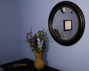 Relaxing lavender sprig compliments the warm decor in our treatment rooms.